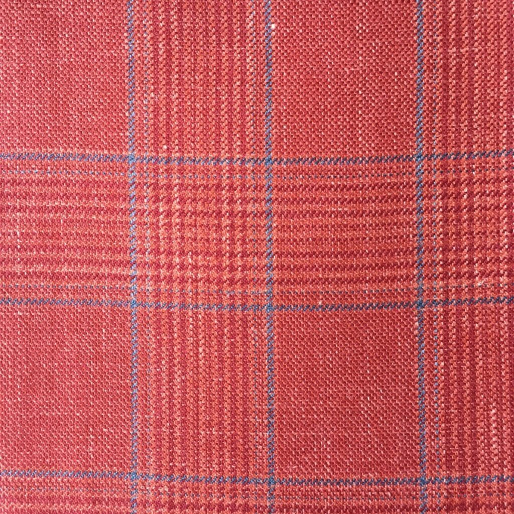 Hochwertige Wolle/Seiden/Leinen Mischung im roten Glencheck Dessin