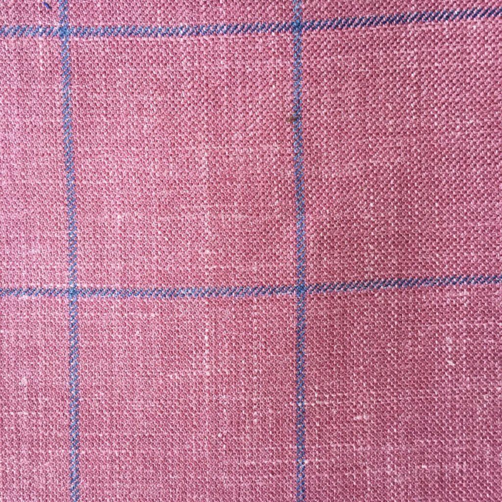 Hochwertige Wolle/Seiden/Leinen Mischung im gewagten, zarten rosa mit hellblauen Gitterkaro