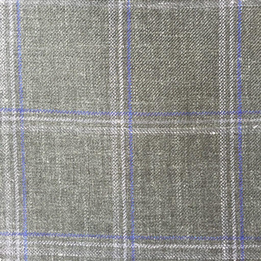 Hochwertige Wolle/Seiden/Leinen Mischung im sommerlichen Dunkelgrün und blauen Überkaro