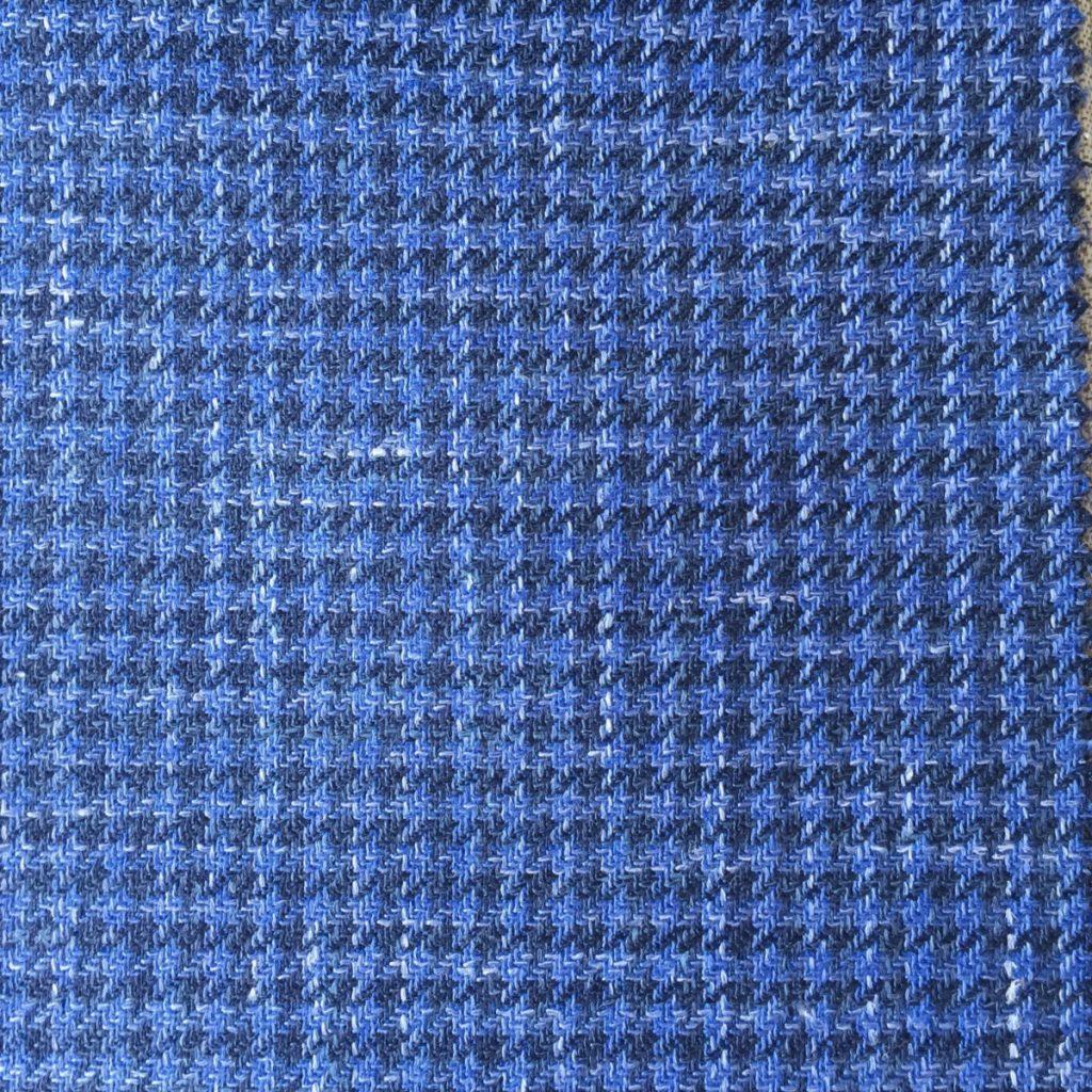 Hochwertige Wolle/Seiden/Leinen Mischung in groben blauen Hahnentritt Dessin