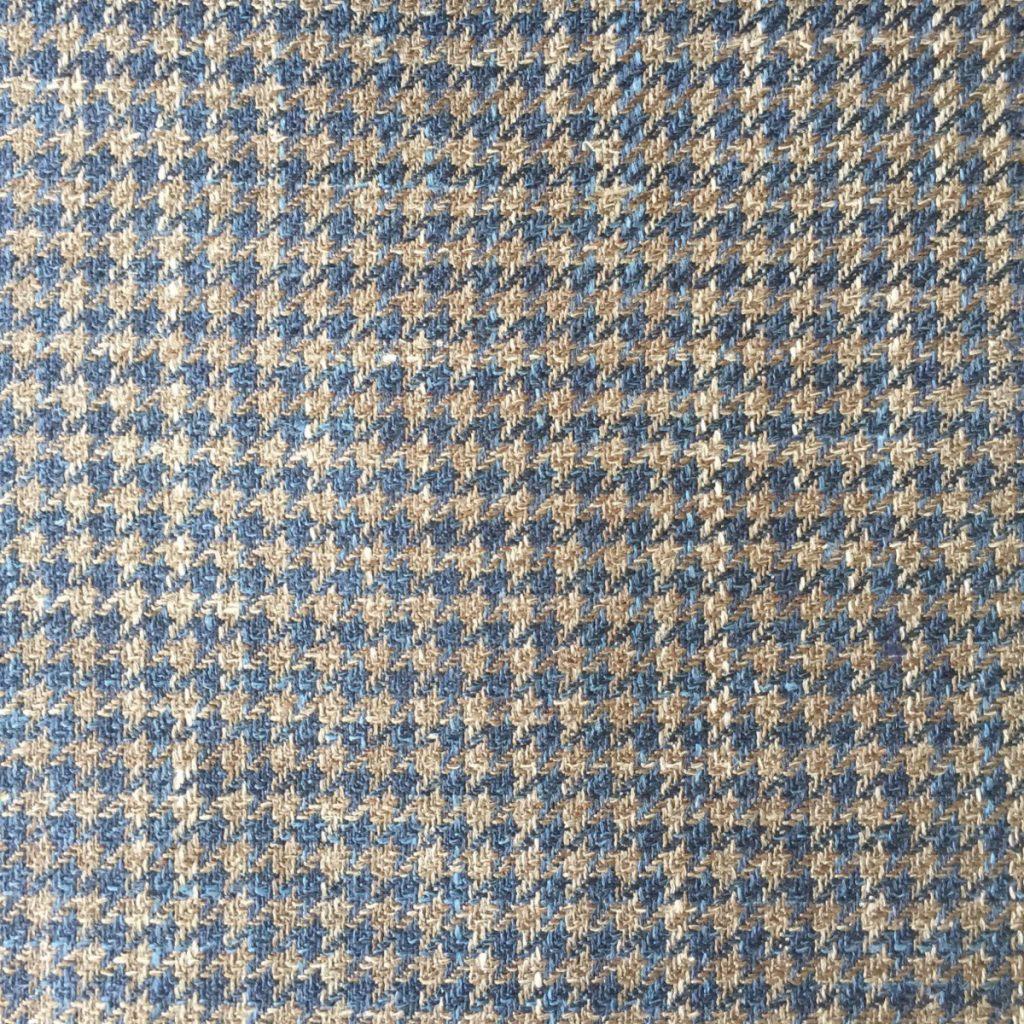 Hochwertige Wolle/Seiden/Leinen Mischung in groben braunen Hahnentritt Dessin