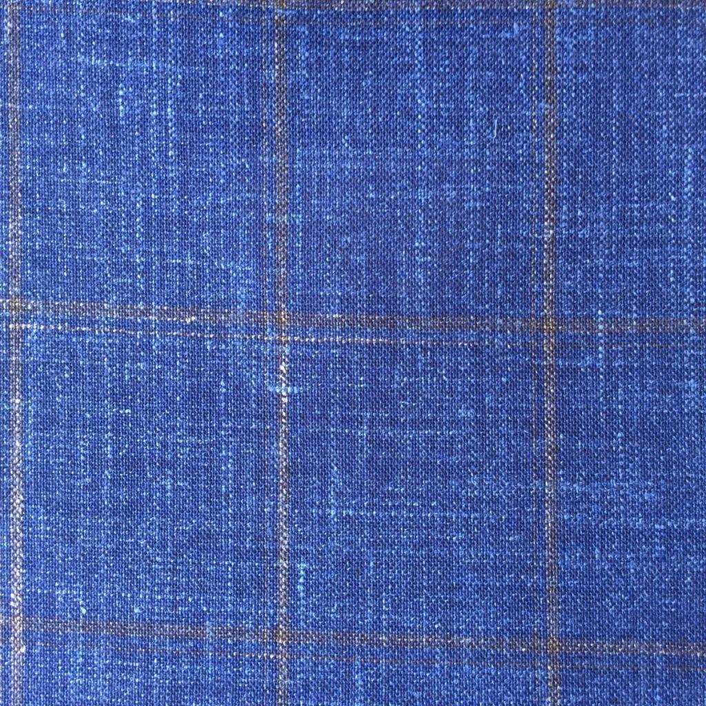 Hochwertige Wolle/Seiden/Leinen Mischung in sommerlichen verschwommenen Blau mit olivgrünen Gitterkaro