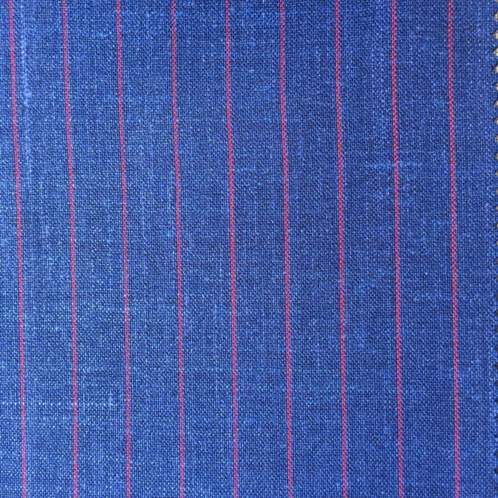 Hochwertige Wolle/Seiden/Leinen Mischung in sommerlichen Indigo Blau und roten Nadelstreif