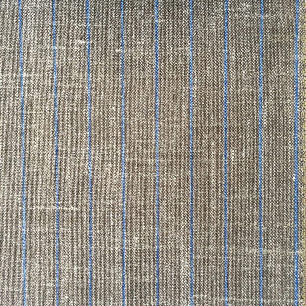 Hochwertige Wolle/Seiden/Leinen Mischung in sommerlichen Braun und blauen Nadelstreif